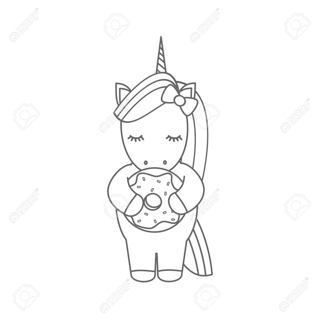 Cute Cartoon Black And White Vector Illustration With Unicorn
