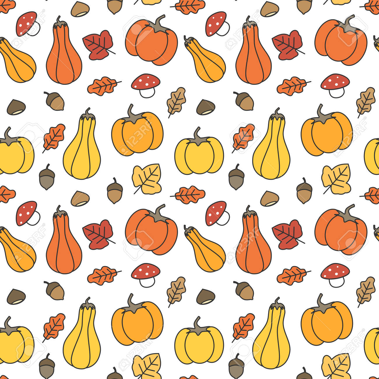 Cute Fall Autumn Seamless Pattern Background With Pumpkins Leaves Royalty Free Cliparts Vectors And Stock Illustration Image 105864199