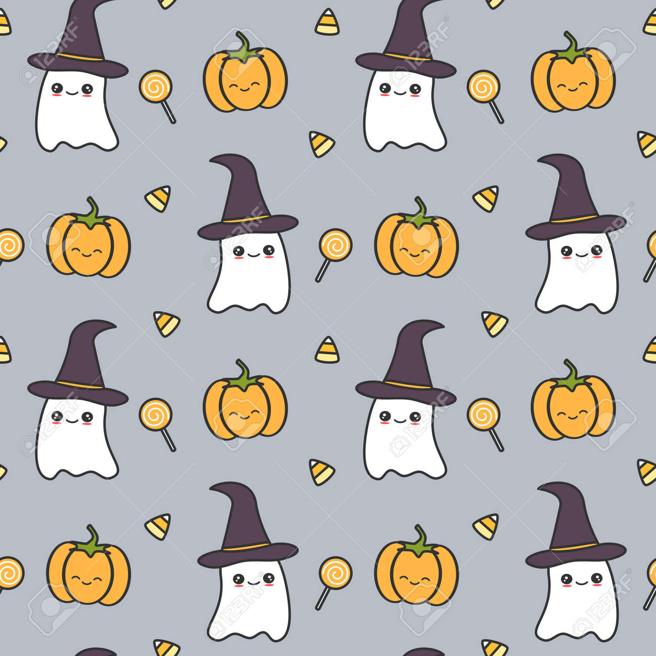 Cute Halloween Seamless Pattern Vector Illustration With Ghost Royalty Free Cliparts Vectors And Stock Illustration Image 106446874