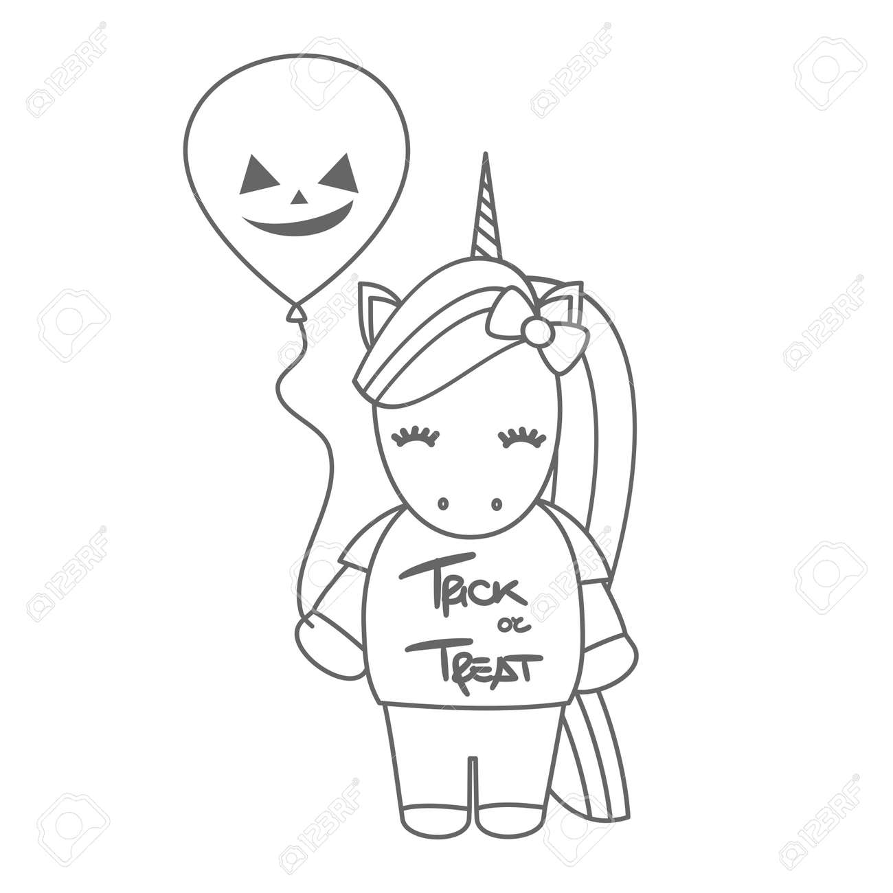 Cute Cartoon Black And White Halloween Vector Illustration With