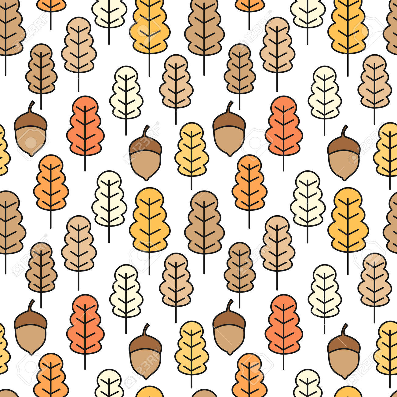 Cute Seamless Vector Pattern With Autumn Leaves Wallpaper Gift Royalty Free Cliparts Vectors And Stock Illustration Image 107625362