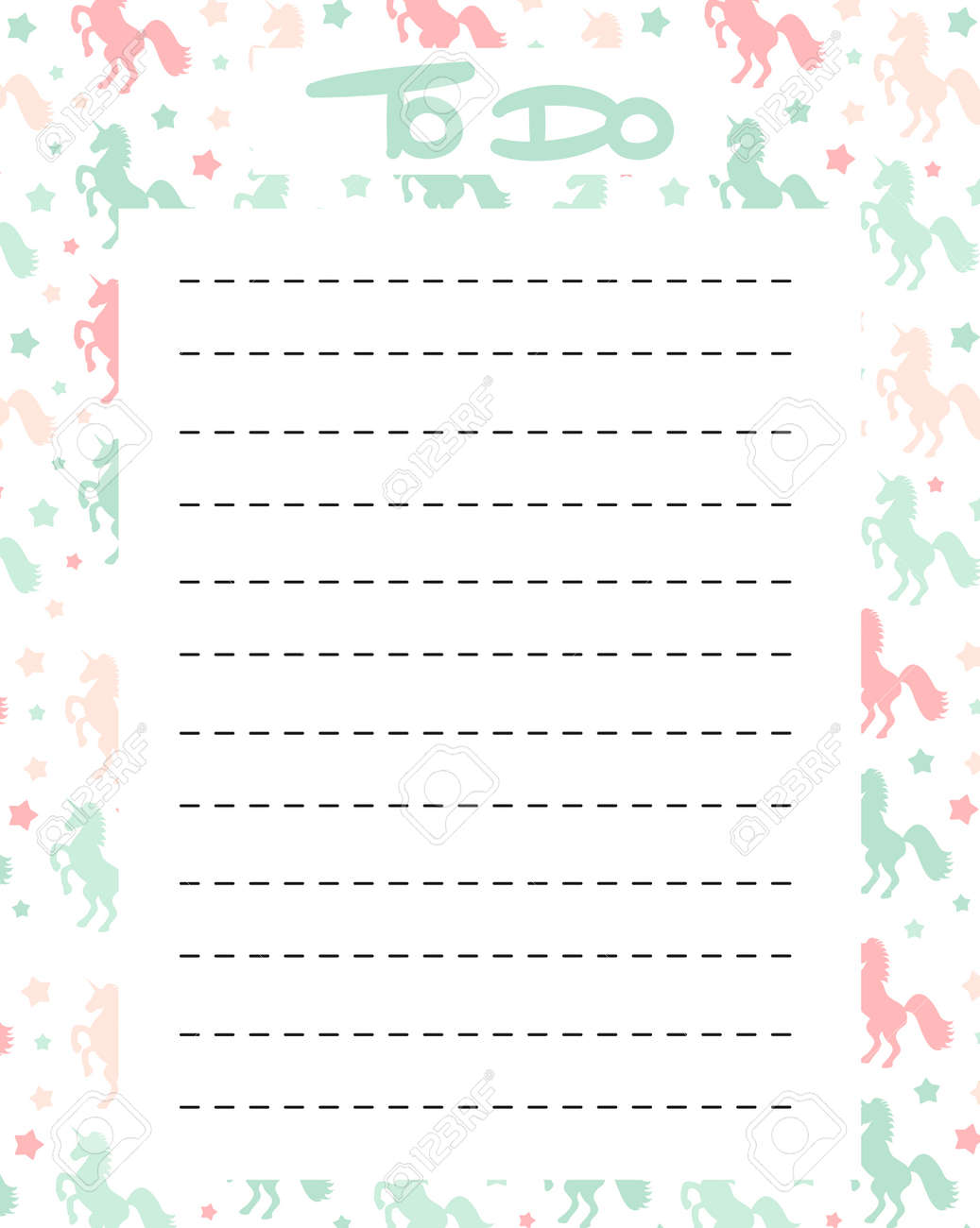 graphic relating to To Do List Printable Cute named adorable toward do checklist vector printable with vibrant unicorns