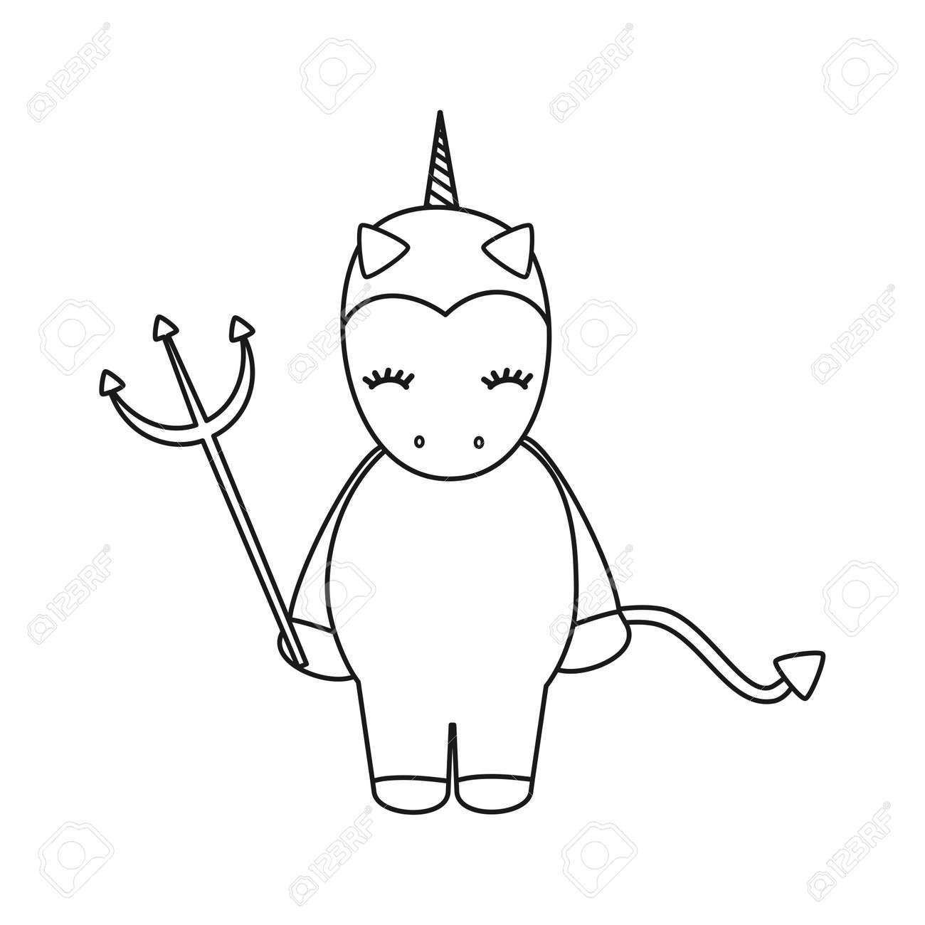 Cute Cartoon Black And White Devil Unicorn Halloween Vector Illustration