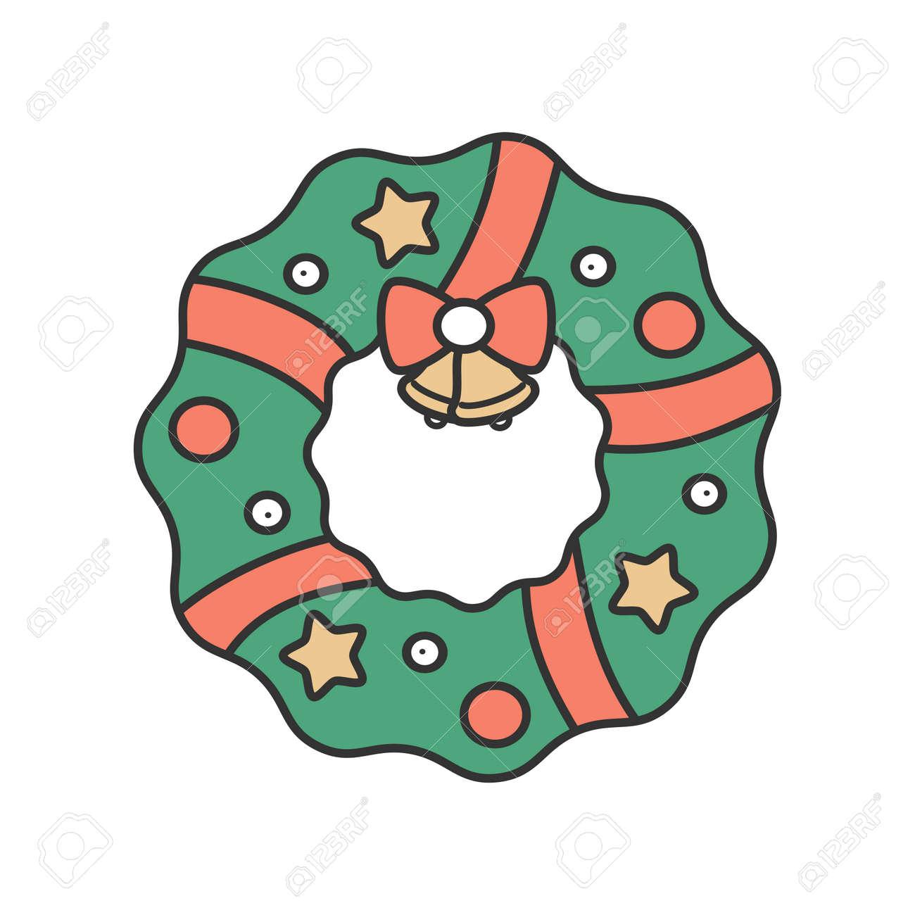 Cute Cartoon Christmas Wreath Vector Illustration Isolated On