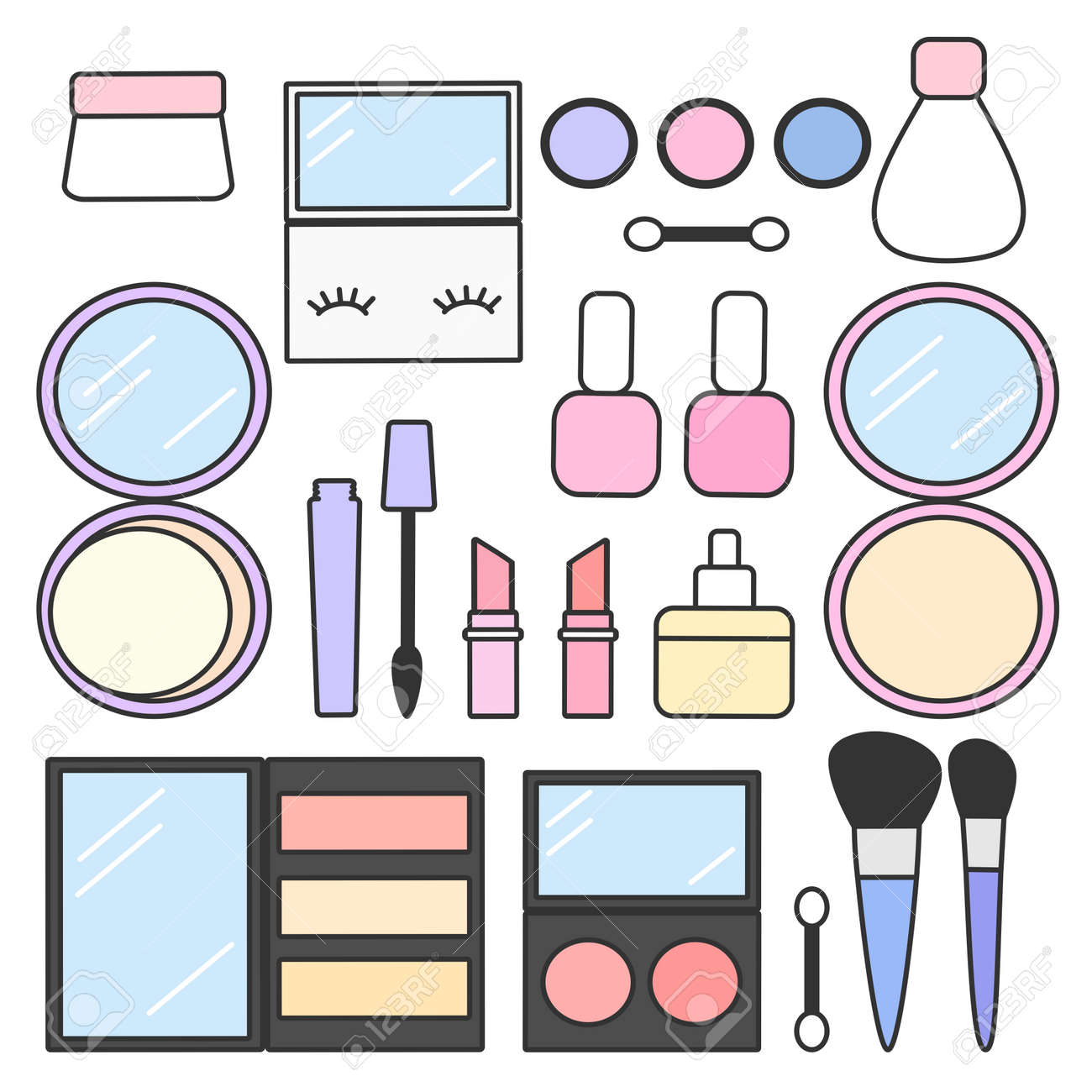 cute cartoon vector makeup beauty set collection