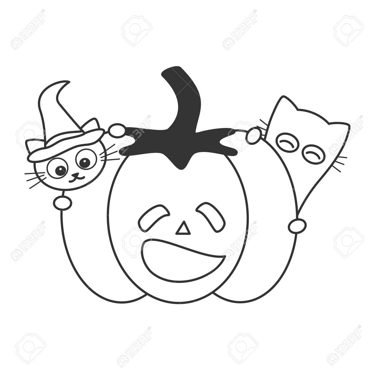 Set Different Black White Pumpkins Halloween Stock Vector (Royalty Free)  325810421