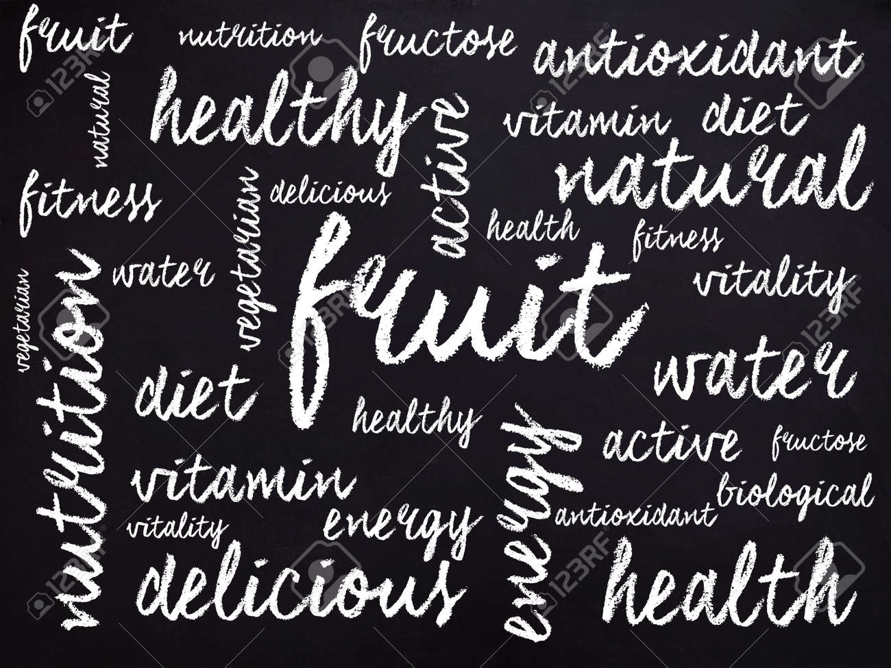 words related to health written with chalk stock photo picture and