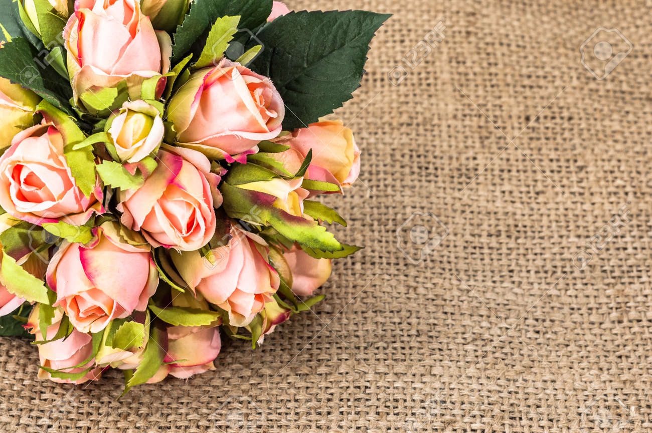 Wedding Roses On Rustic Jute Background Flowers Backgrounds