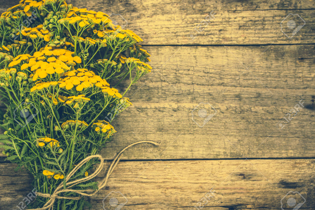 Yellow Flowers From Summer Meadow Rustic Bouquet Located On Stock
