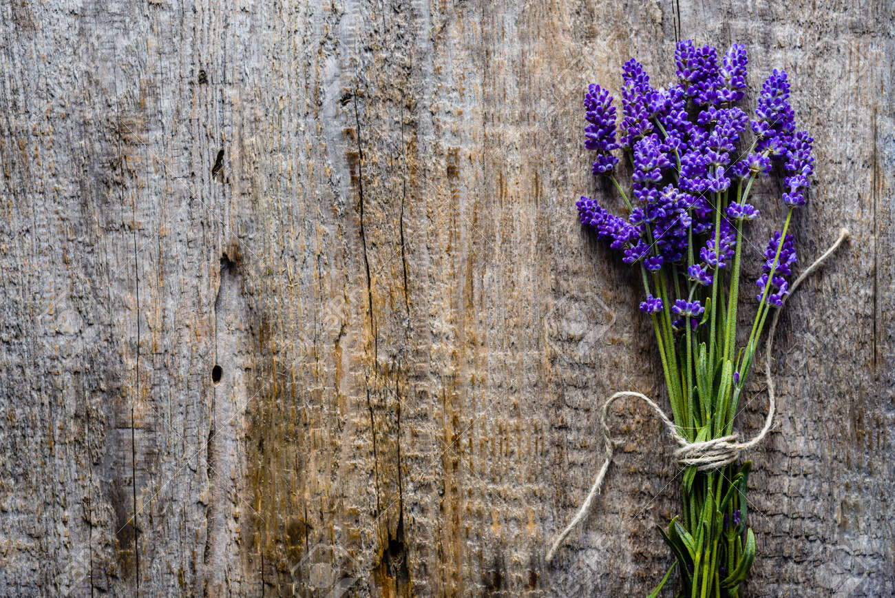 Lavender Flowers, Bouquet On Rustic Background, Overhead Stock Photo ...