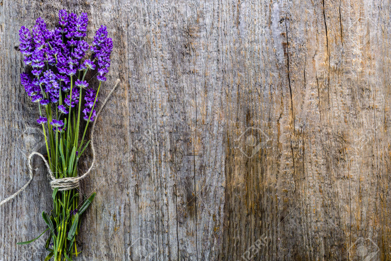Lavender Flowers Bouquet On Rustic Wooden Background Top View Stock Photo Picture And Royalty Free Image Image 87208960