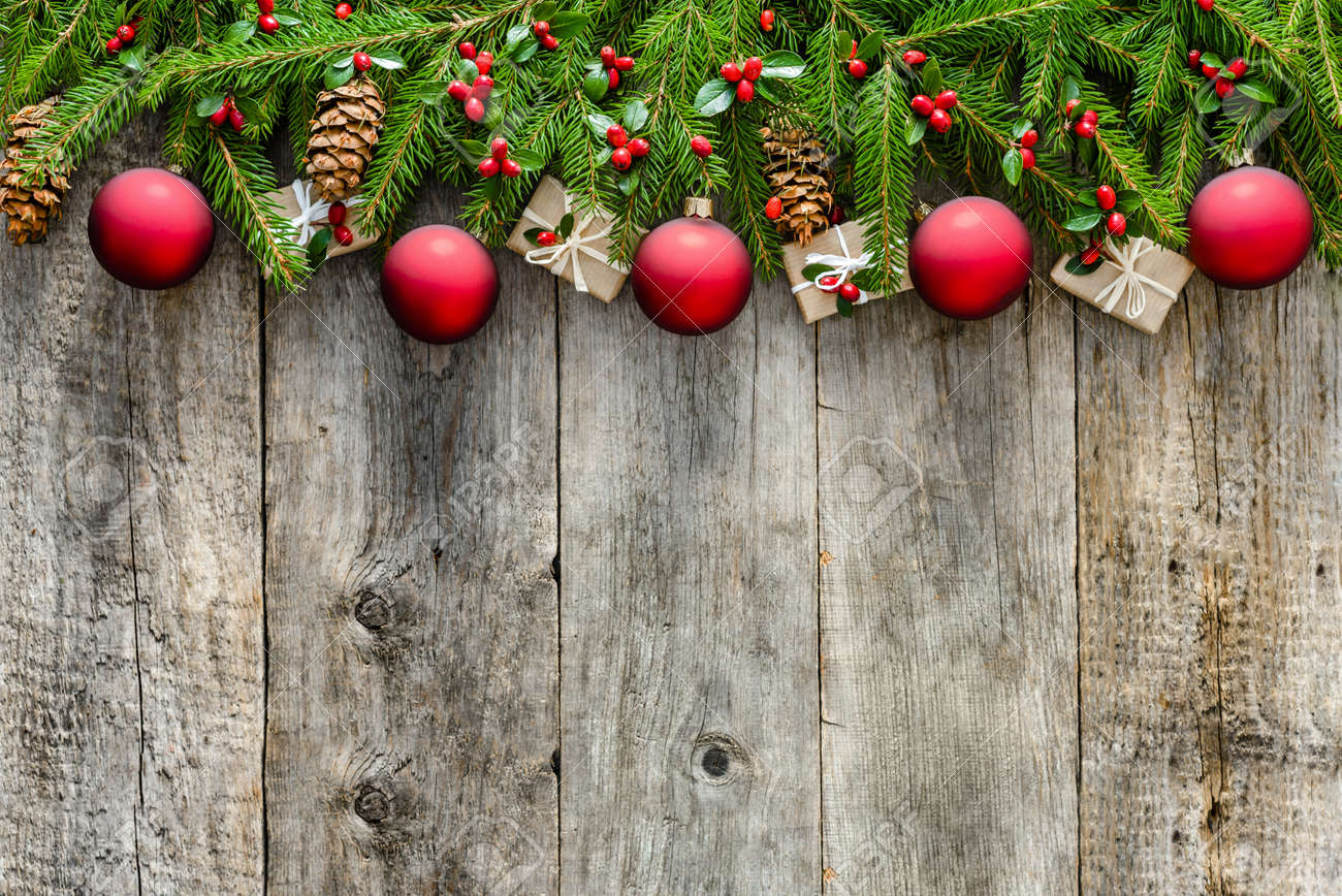 Wooden Background With Christmas Decorations Red Ornaments And