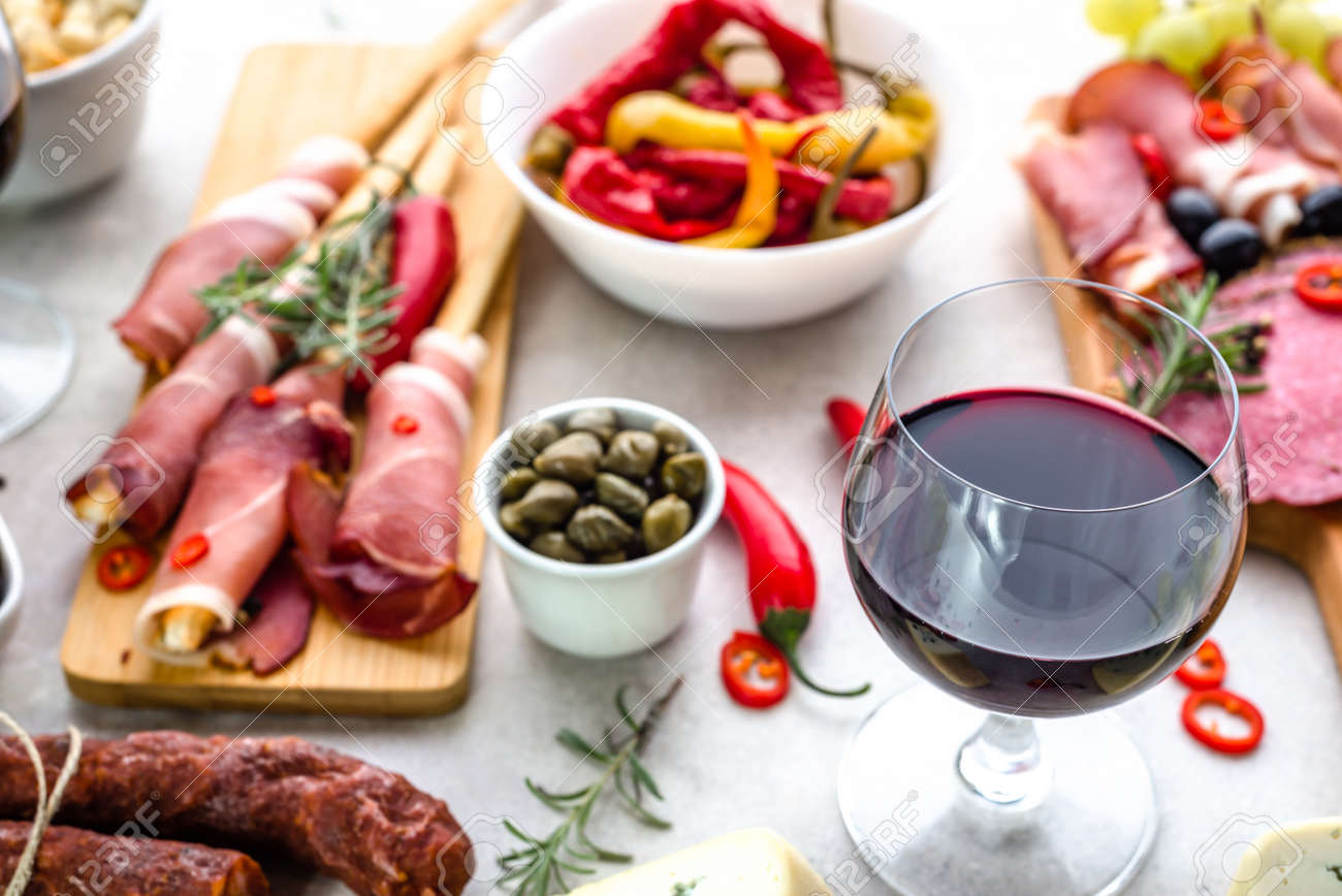 Stock Photo - Traditional spanish tapas bar or wine snack set on table food selection appetizers of mediterranean diet & Traditional Spanish Tapas Bar Or Wine Snack Set On Table Food ...