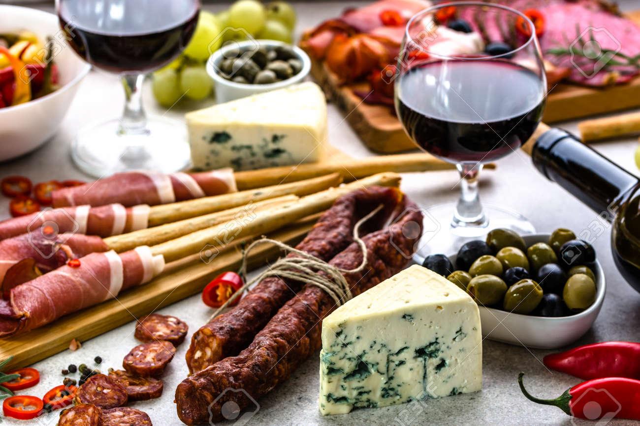 Stock Photo - Traditional spanish tapas bar or wine snack set on table food selection mediterranean diet & Traditional Spanish Tapas Bar Or Wine Snack Set On Table Food ...