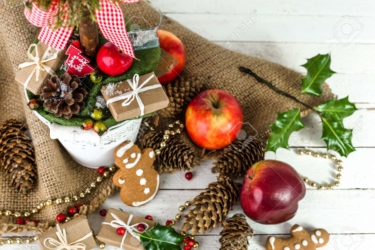 Table With Christmas Decoration, Food, Christmas Gift, Candy ...