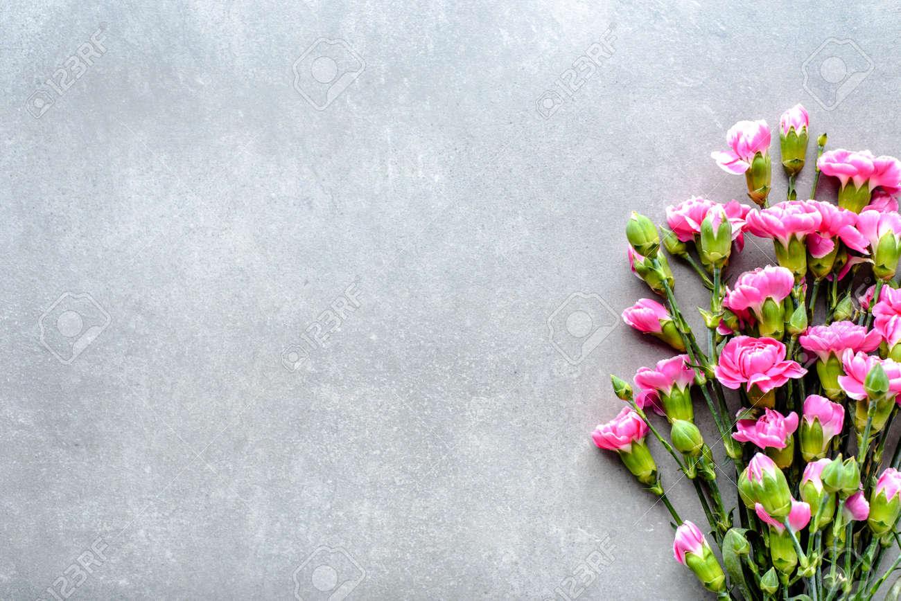 Fresh Spring Flowers Bouquet On Gray Background Wedding Invitation