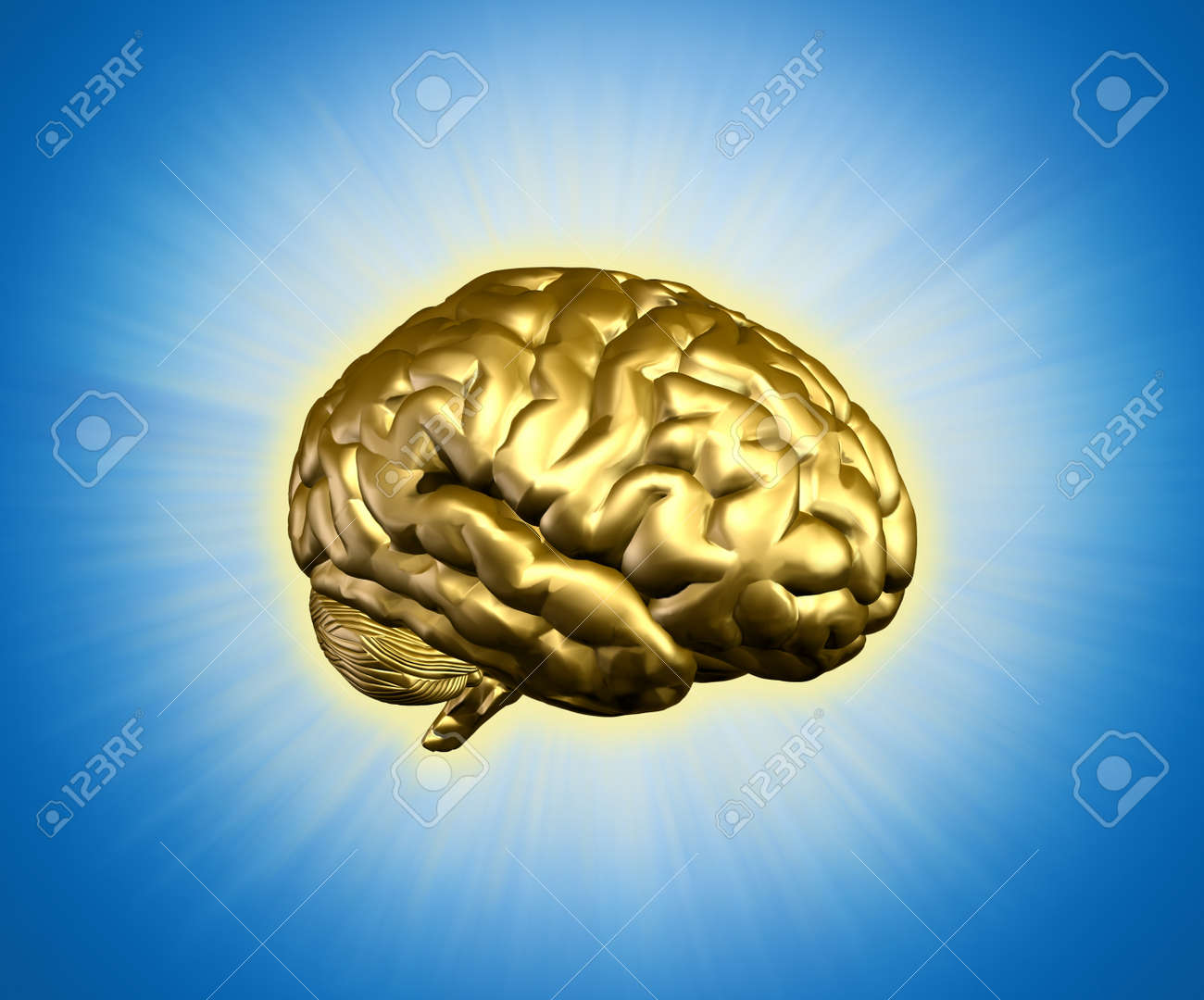 Golden radiant brain - combines 3D render with digital painting. Stock Photo - 7972902