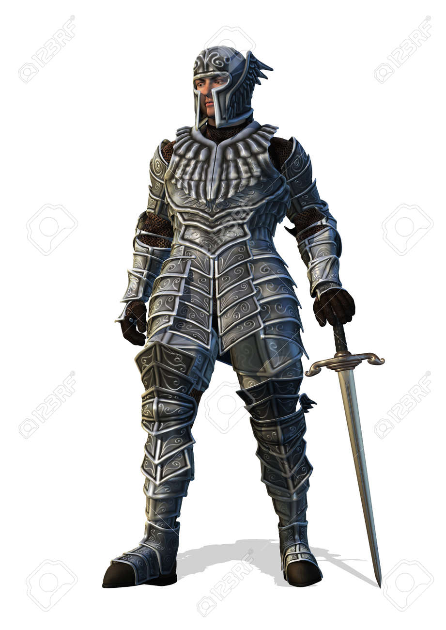 A brave knight stands with his sword - 3D render. Stock Photo - 8758644
