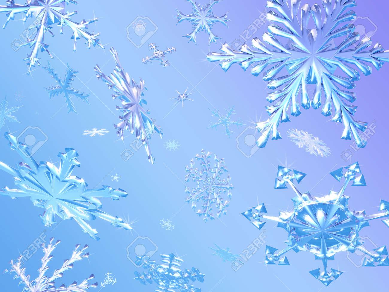 Snowflakes Falling - 3D render Stock Photo - 11277200