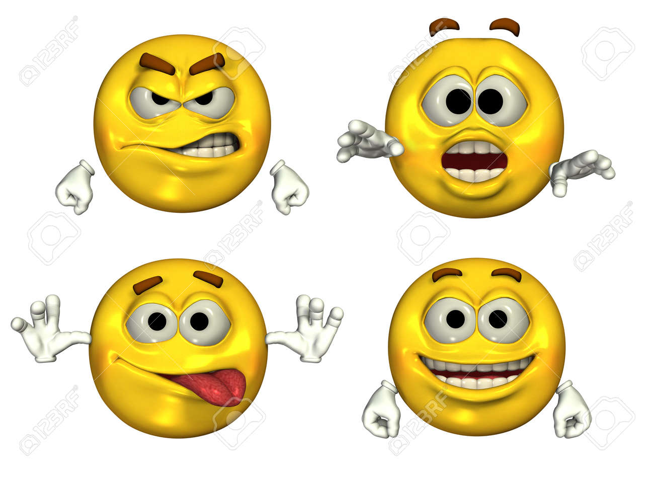 Four Big Emoticons - 3D render Stock Photo - 11711213