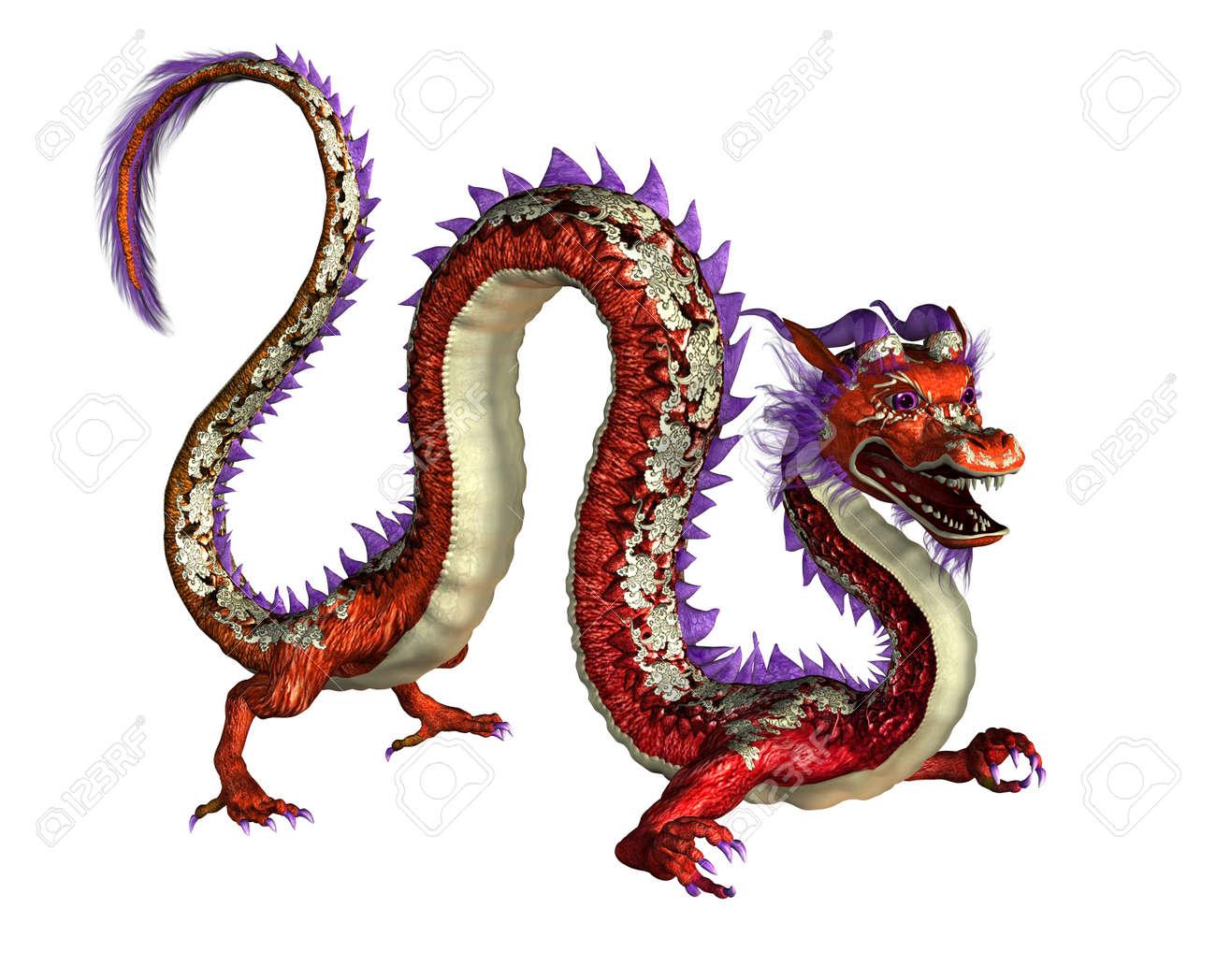 Red Oriental Dragon 3d Render Stock Photo 11711124