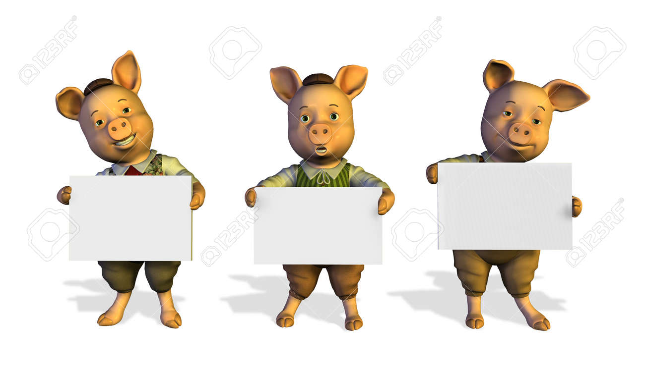 3D render of three little pigs holding blank signs. Stock Photo - 11711097
