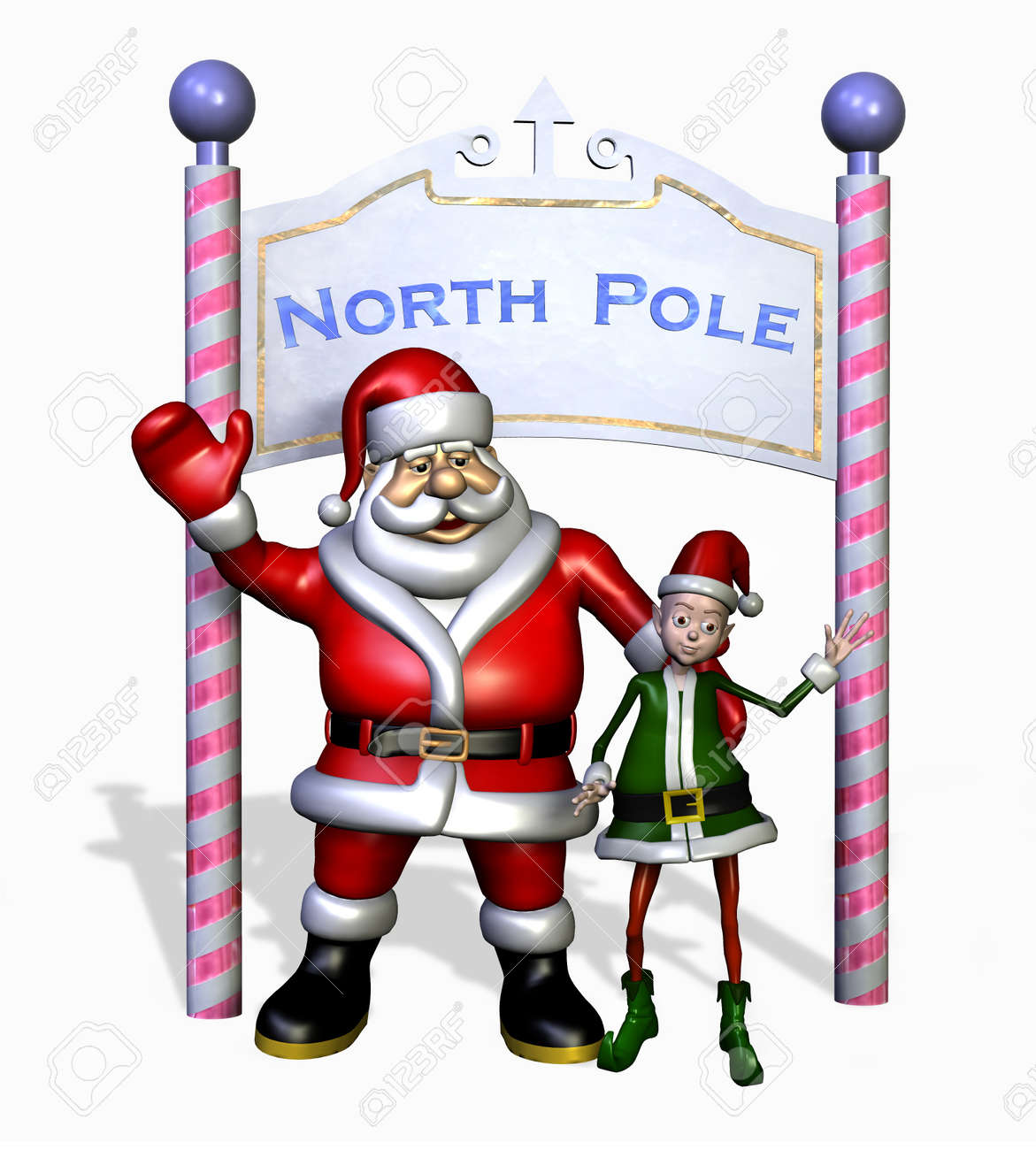santa and his elf at the north pole 3d render stock photo 11711143 - Santa And The North Pole