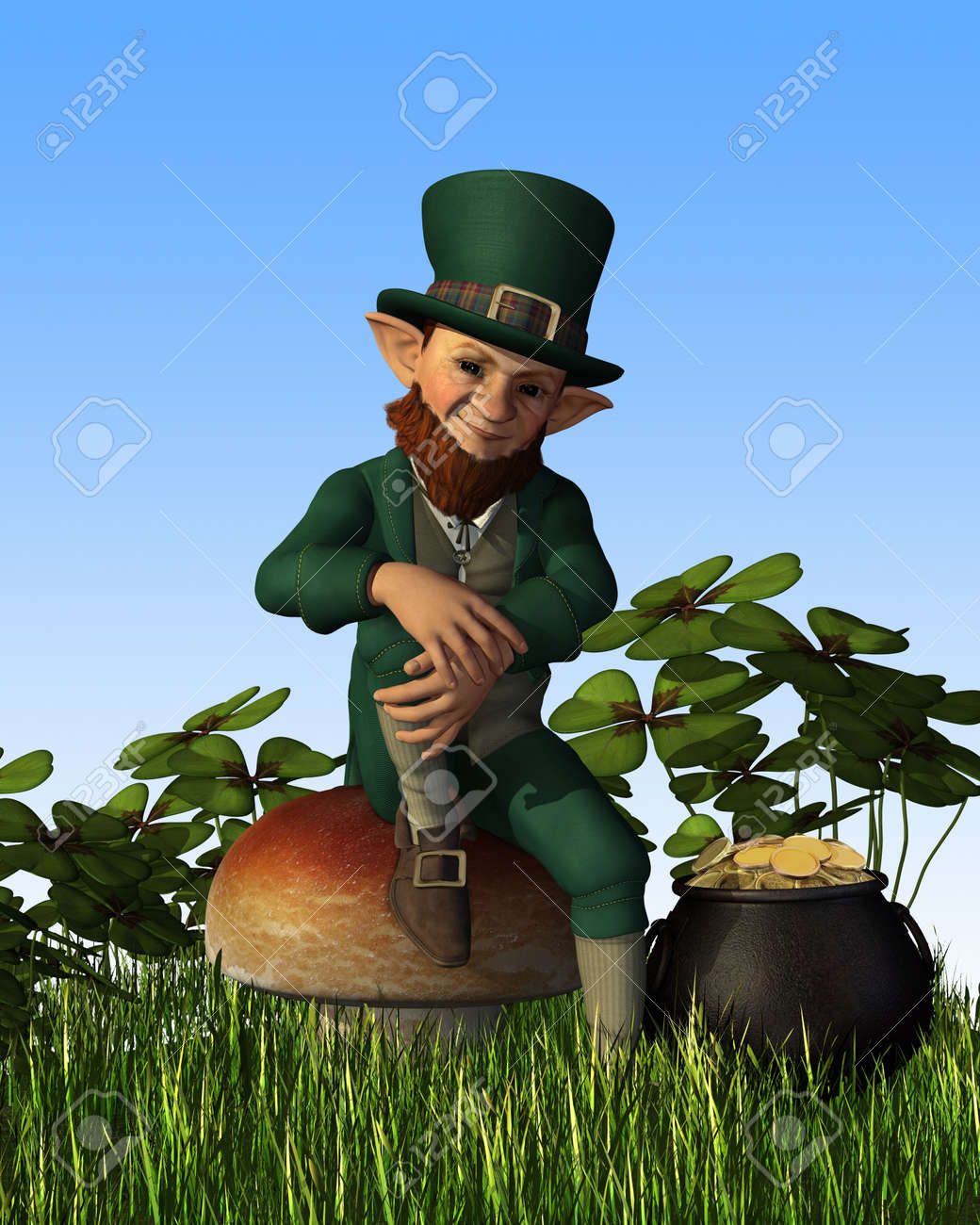 A Leprechaun Is Relaxing On A Toadstool, With His Pot Of Gold ...