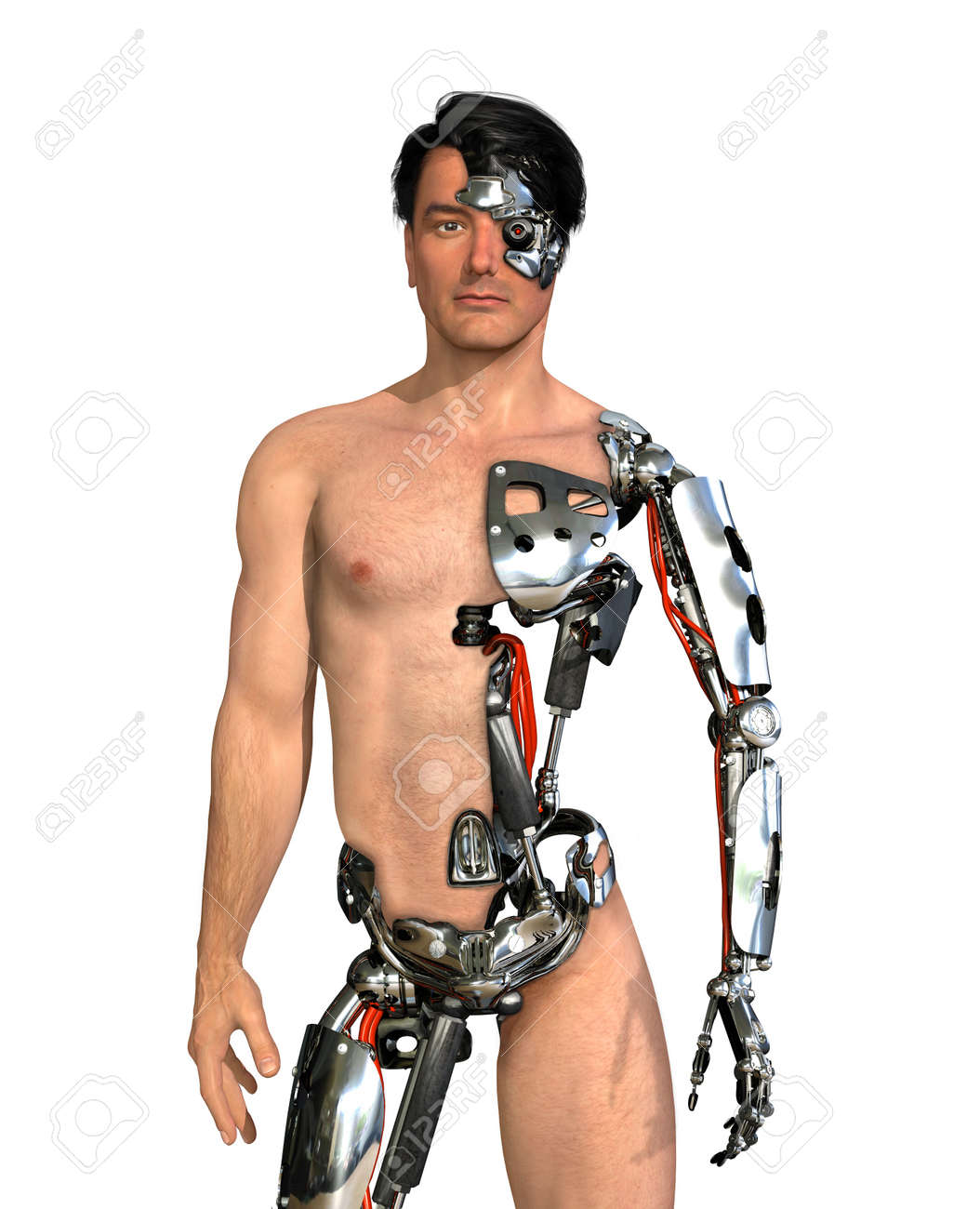 A man has had large areas of his body replaced with robotic parts - 3D render with digital painting Stock Photo - 17453040