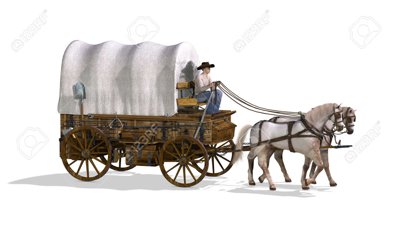 An Old West Covered Wagon - 3d Render. Stock Photo, Picture And ...