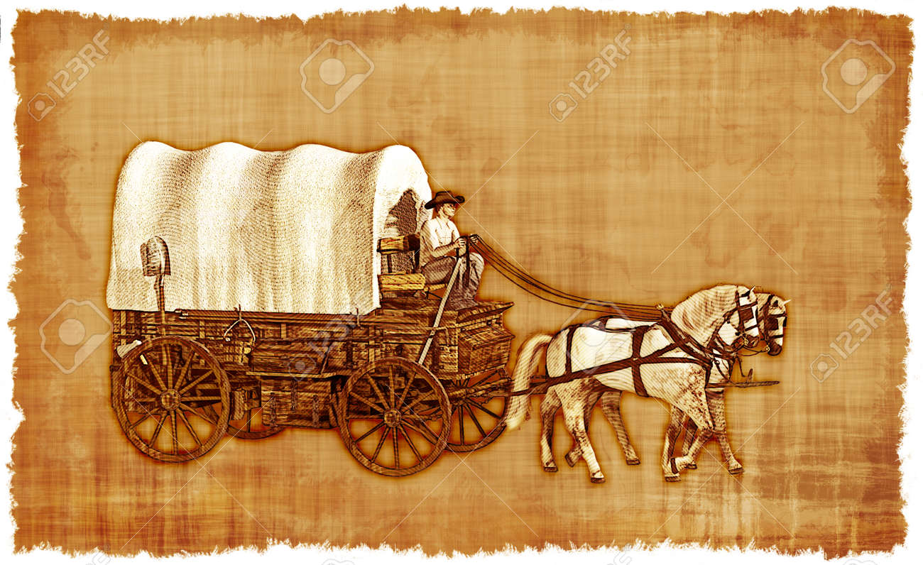 An Old Worn Parchment Featuring An Old West Covered Wagon. Stock ...