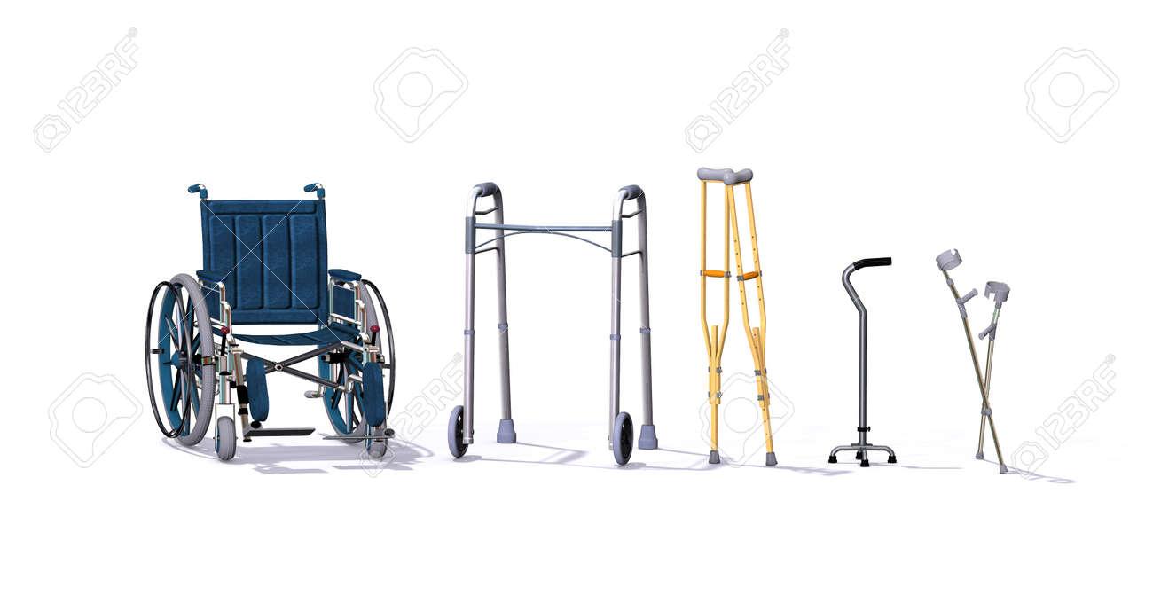 Una colección de ayudas para la movilidad incluyendo una silla de ruedas, andador, muletas, bastón de cuatro patas, y muletas 3d.