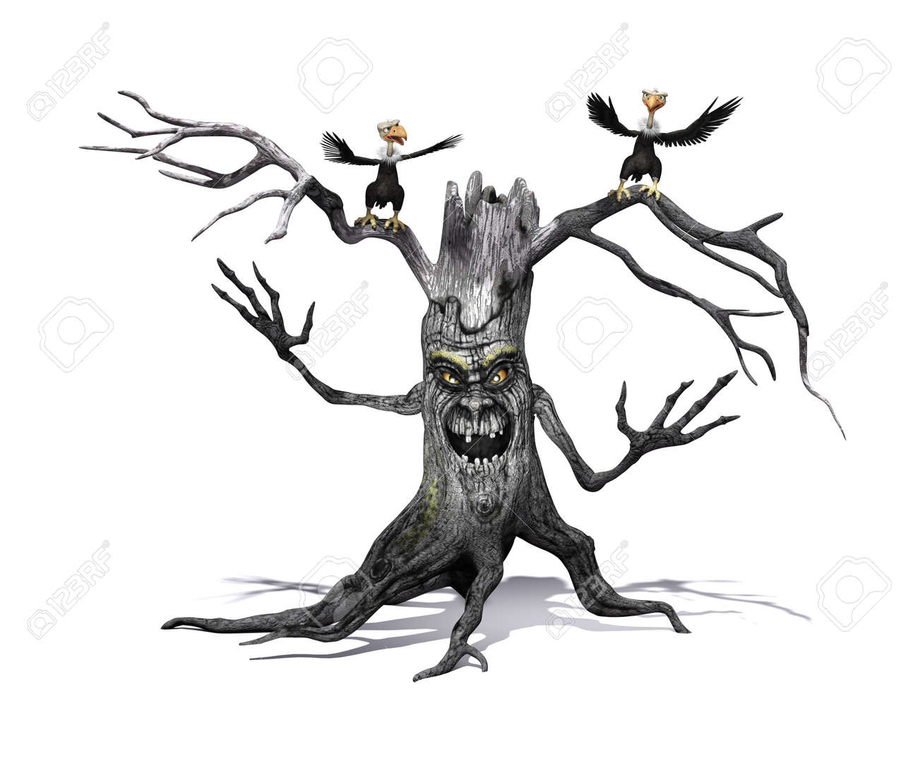 A Creepy Smiling Tree With Angry Cartoon Vultures 3d Render Stock Photo Picture And Royalty Free Image Image 67805746 » cartoon render with ibl is possible. a creepy smiling tree with angry cartoon vultures 3d render stock photo picture and royalty free image image 67805746