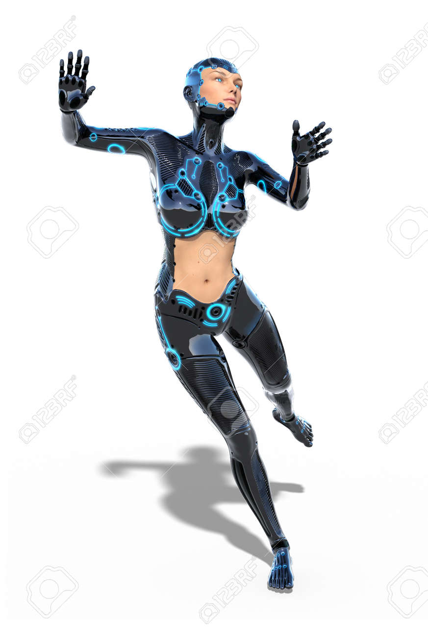Cyborg woman in action pose 3d render stock photo 92601659