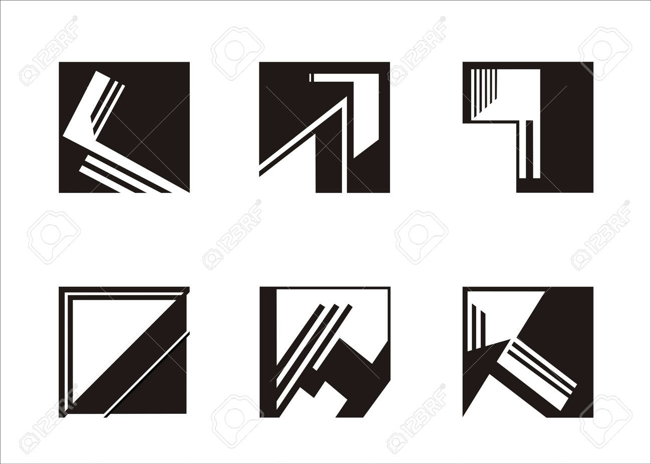six logos built on a square, black and white Stock Vector - 12888726