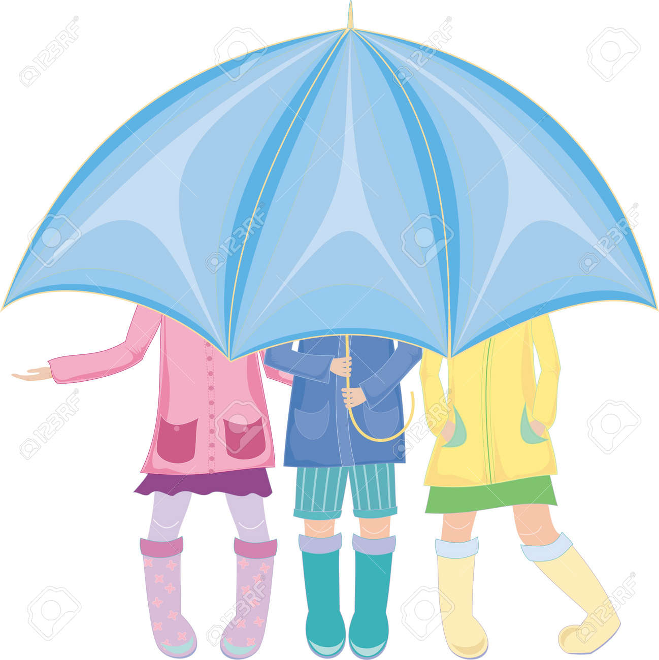 three children standing under an umbrella in rubber boots Stock Vector - 12888725