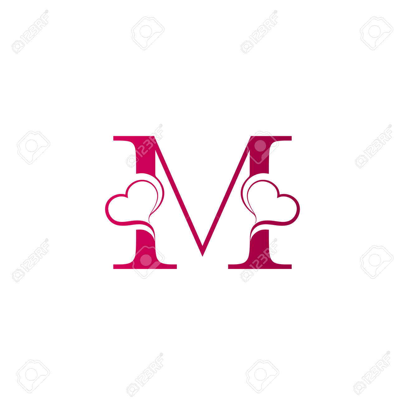M Letter Logo With Heart Icon Valentines Day Concept Royalty Free