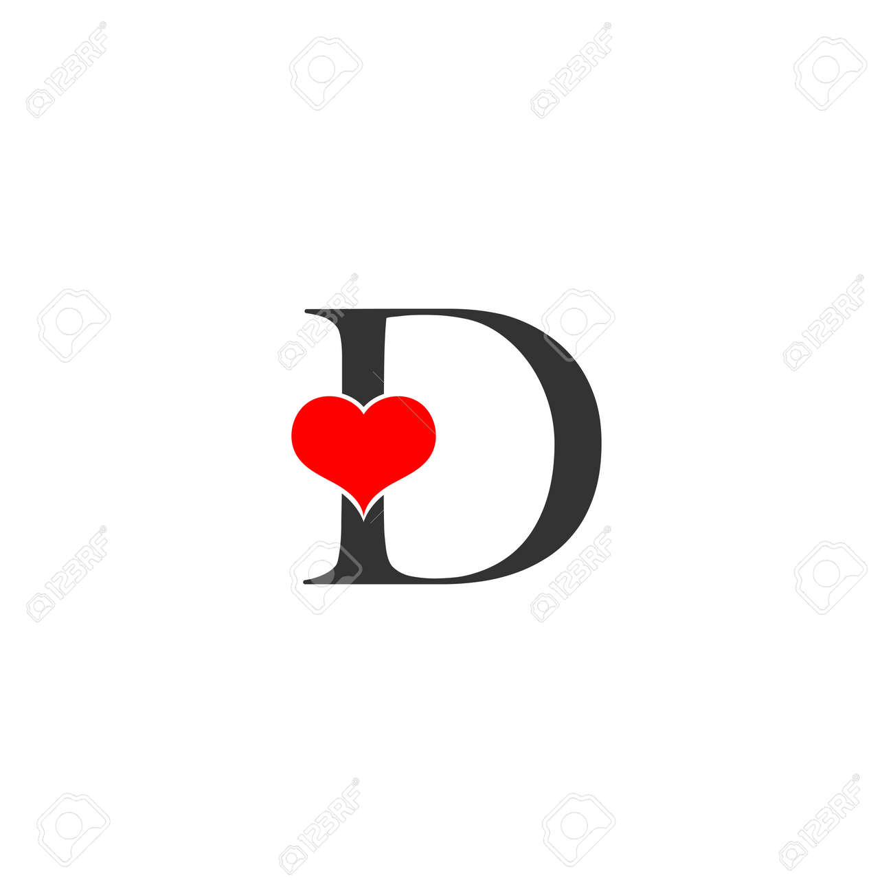 D Letter Logo With Heart Icon Valentines Day Concept Royalty Free