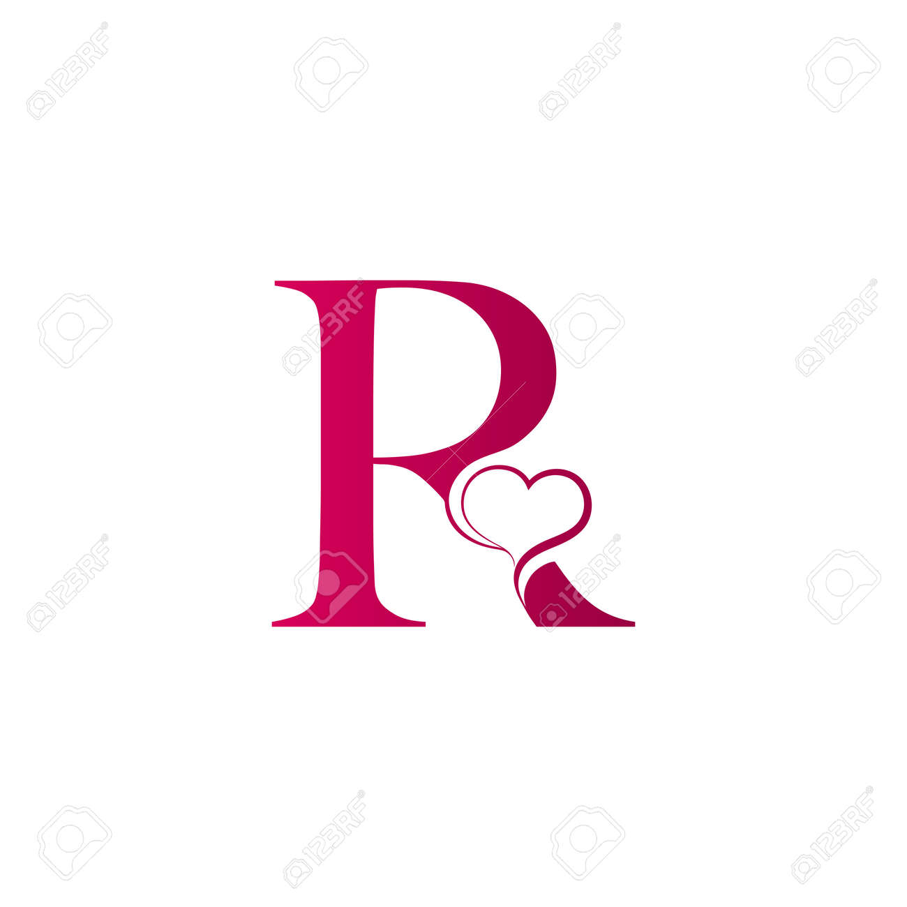 R Letter Logo With Heart Icon Valentines Day Concept Royalty Free