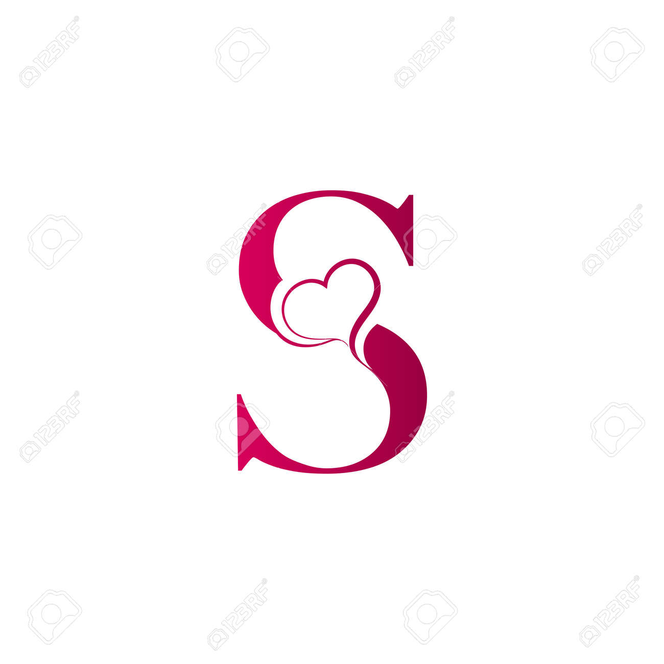S Letter Logo With Heart Icon Valentines Day Concept Royalty Free