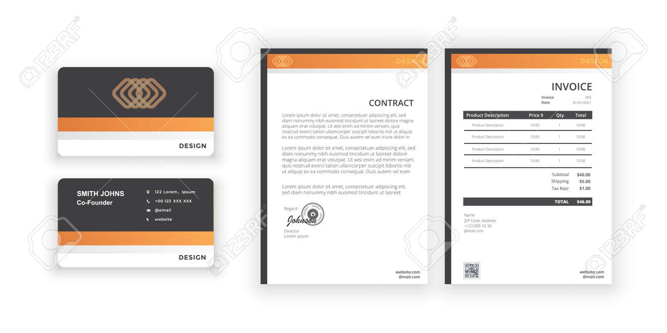 Business card and blank. Simple colorful design. Vector illustration. Modern minimalist template. Document design template for office, company. - 166292068