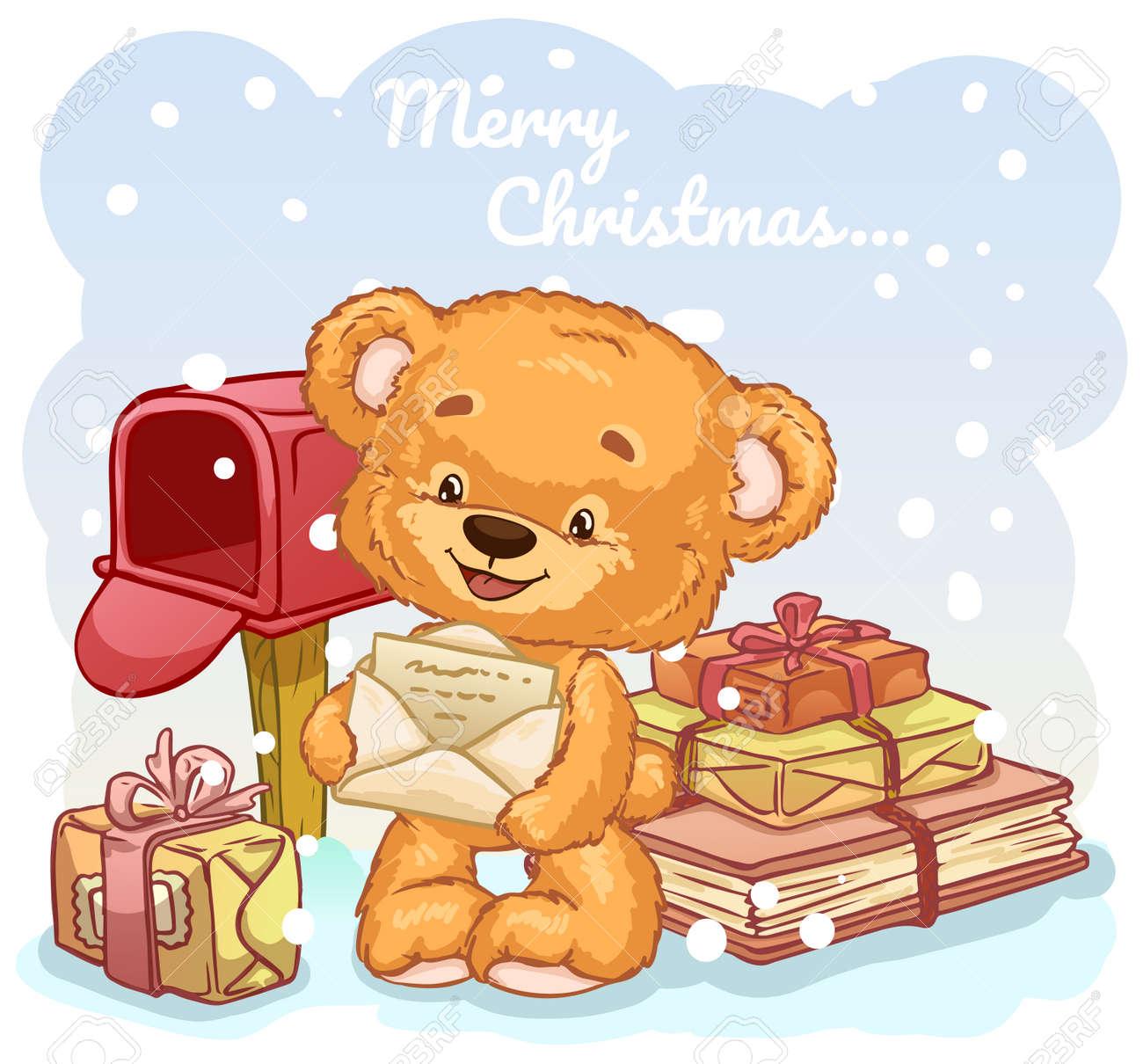 Ours En Peluche Entre Les Cadeaux Envoie Une Lettre Au Pere Noel