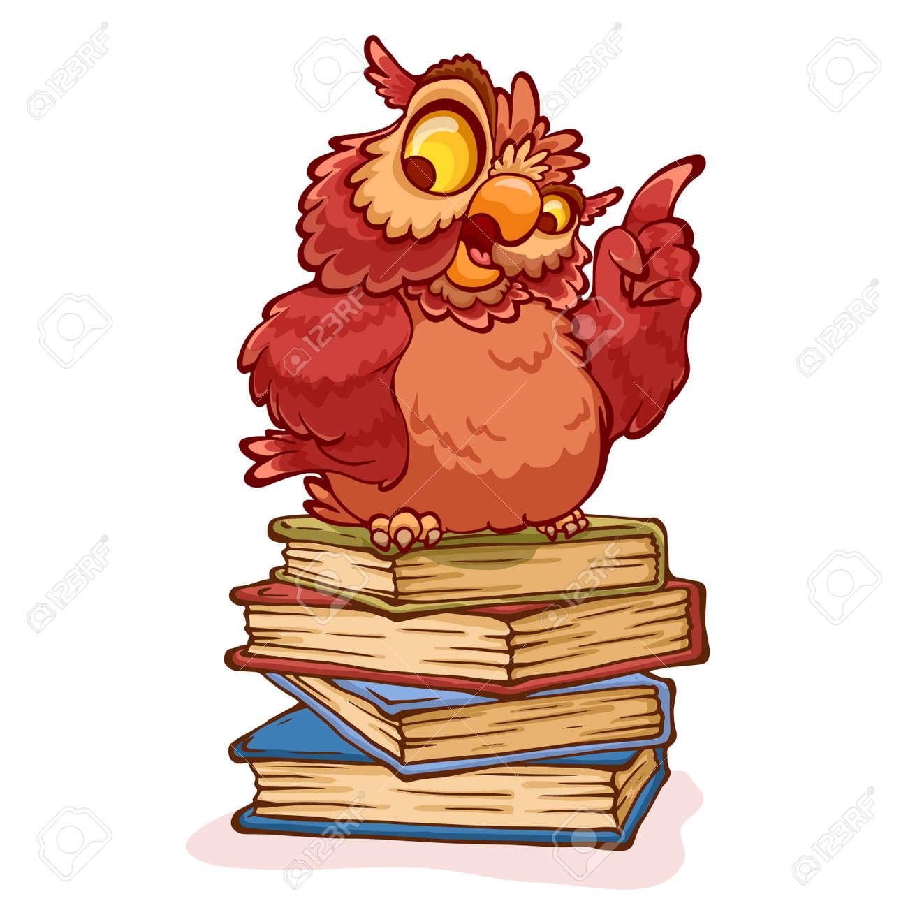 Professor Sabio Da Coruja Que Senta Se Em Uma Pilha De Livros
