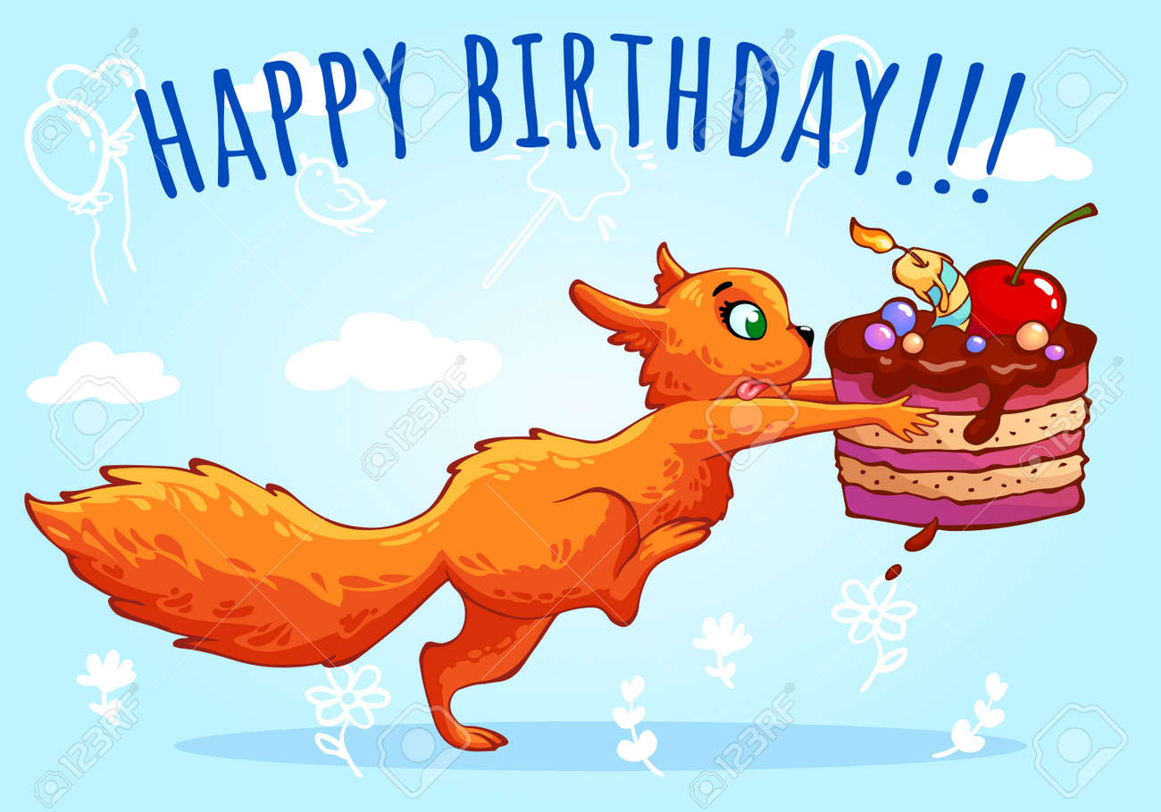 Redhead Funny Squirrel With Delicious Chocolate Cake On Blue Background Happy Birthday Cartoon Characters