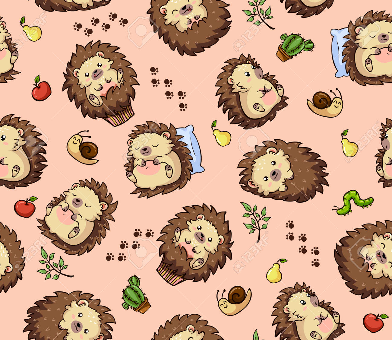 Cartoon Cute Seamless Pattern With Hedgehogs On Pastel Color