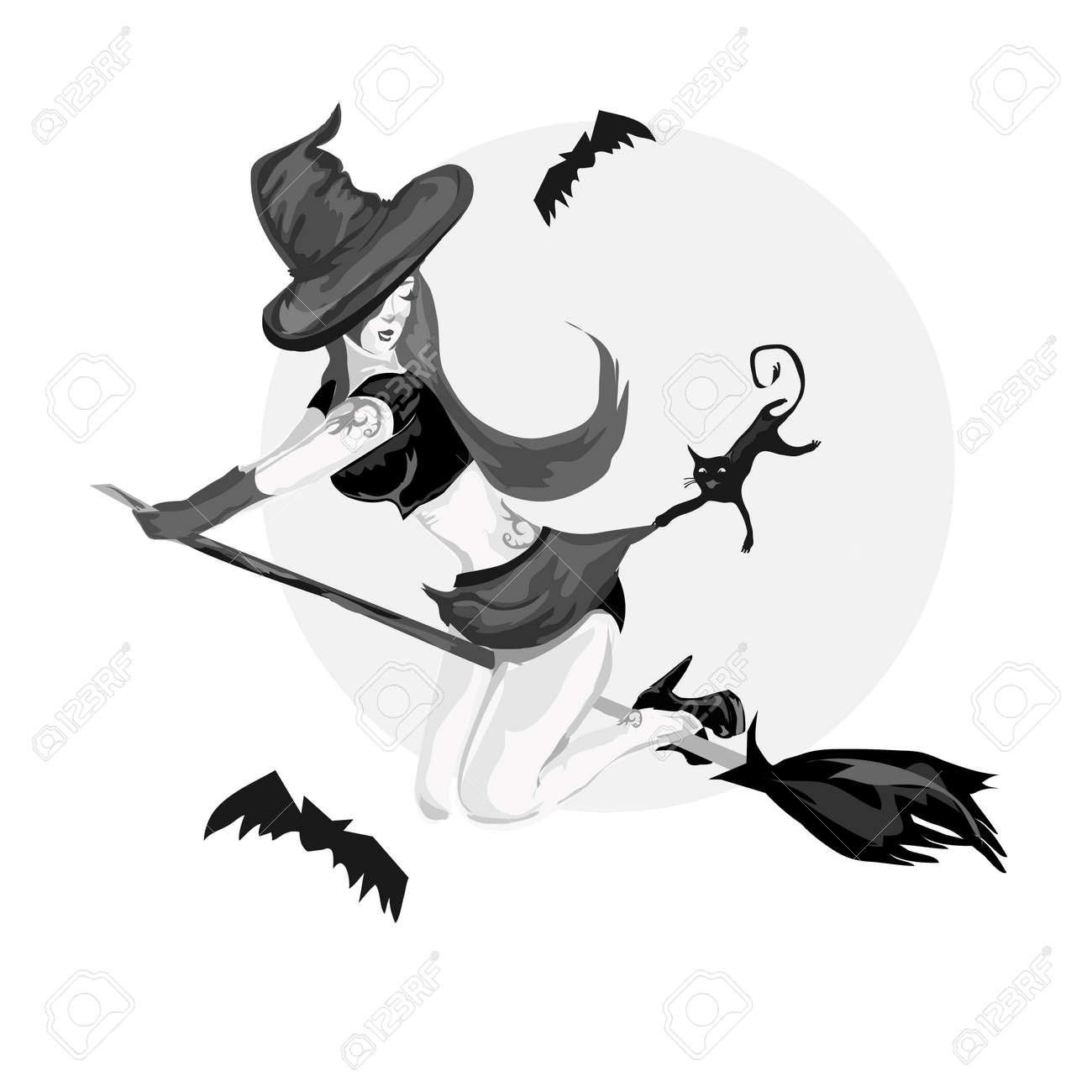 pretty witch flying on a broom with black cat - 14870384
