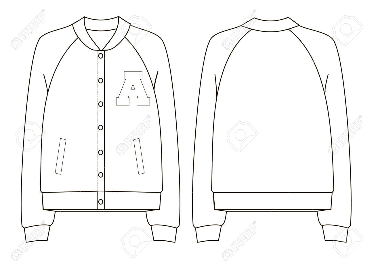 Unisex College Bomber Jacket Technical Sketch Royalty Free Cliparts