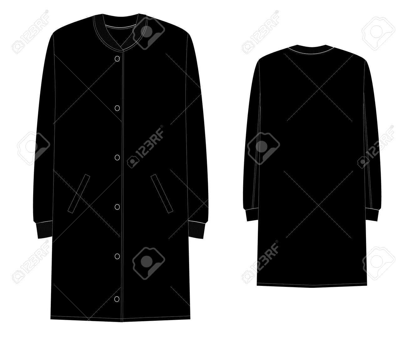 Unisex Long Bomber Jacket Technical Sketch Royalty Free Cliparts