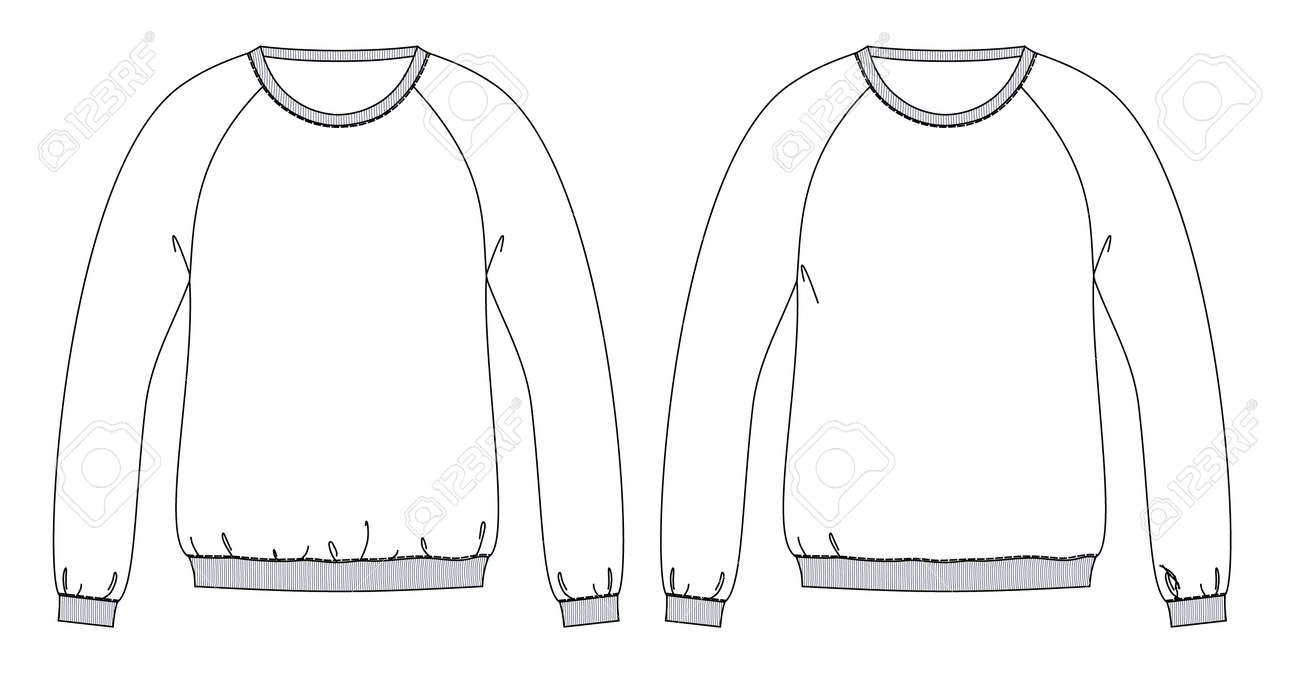 Sweatshirts technical sketches with diffrent fit front part - 100808165