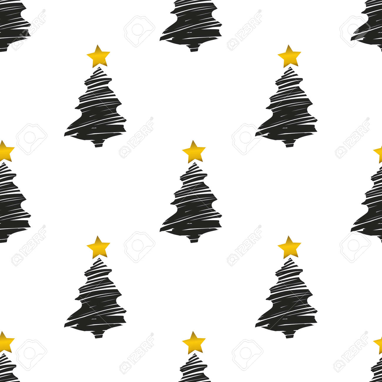 Foil Christmas Tree.Abstract Background With Christmas Tree Pattern With Gold Star